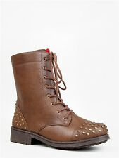 NEW QUPID Women Stud Toe Laced Combat Midcalf Boots Brown Tan sz Camel Missile08