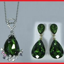 Emerald Green Tear Drop Pendent Necklace Earrings Love Xmas Gift For Her Wife