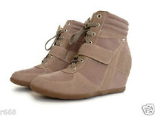 Women Lace Up Velcro High Top Ankle Wedge Heels Sneaker Boots Taupe color suede