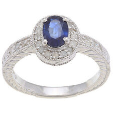 1.50ct Genuine Sapphire Diamond Ring Vintage Style in Sterling Silver