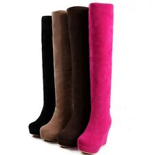 Hot Women's Deerskin suede boots Knight slope with warm knee length boots