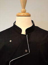 Chef coat, sushi coat, sushi chef coat, Black White trims