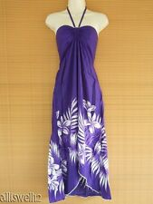 Sexy Tropical Hawaiian Halter Butterfly Party Luau Purple White Palm Floral