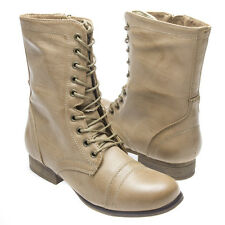 Madden Girl Beige Lace Up Military Combat Riding Ankle Low Heel Flat Boot Steve