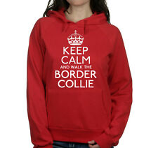 KEEP CALM AND WALK THE BORDER COLLIE UNISEX PET DOG HOODIE WOMENS GIFT TOP #211