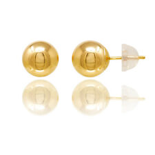 14KT GOLD BALLS STUDS EARRINGS WITH COMFORT SILICONE BACK