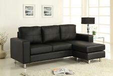 Black Sectional Sofa Leather Sofa Couch Living room furniture #CM2122BK