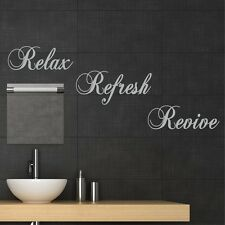 RELAX REFRESH REVIVE Wall sticker quote decal mural stencil for bathroom WQA12