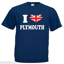I Love Heart Plymouth Adults Mens T Shirt 12 Colours Size S - 3XL