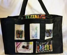Black Photo Pocket Tote Purse Bag Scrapbook Picture Clear Jelly Plastic Luggage