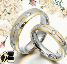 18K Gold Groom&Bride Matching Diamond Wedding Engagement Titanium Rings Set F3