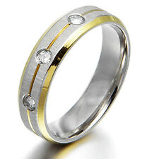US Men Women 18K Gold Filled CZ Wedding Titanium Rings Sz4-16 4&6mm