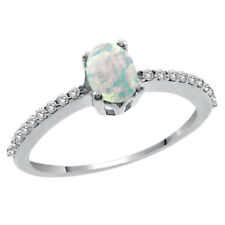 0.89 Ct Oval Cabochon White Simulated Opal White Diamond 14K White Gold Ring