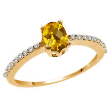 1.00 Ct Oval Checkerboard Yellow Citrine White Topaz 14K Yellow Gold Ring