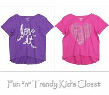 NEW NWT KIDS GIRLS SIZE 7 8 77KIDS AMERICAN EAGLE TEE SHIRT TOP LOVE PINK PURPLE