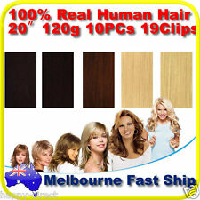 "Clip in REMY Real Human Hair Extensions 20"" full head on Black Brown Blonde 120g"