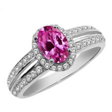 1.60 Ct Oval Pink Created Sapphire 925 Sterling Silver Ring