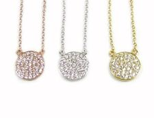 CZ Disc Necklace, Cubic Zirconia-- Gold Vermeil or Sterling silver