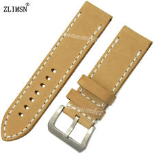 20mm 22mm 24mm 26mm MENS MANUAL THICKEN KHAKI GENUINE LEATHER WATCH BANDS STRAPS