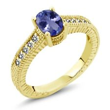 1.08 Ct Oval Blue Tanzanite White Diamond 18K Yellow Gold Plated Silver Ring