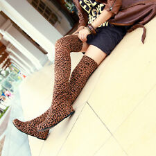 Women lady Leopard walking inner elevator shoes over the knee thigh boots YLIL6