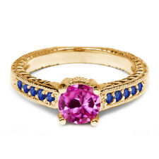 1.20 Ct Pink Created Sapphire Blue Sapphire 14K Yellow Gold Engagement Ring