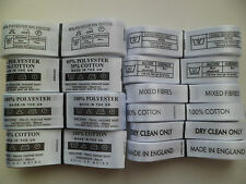 50 or 100 x Fabric Clothing Garment Wash Care Labels. Fabric Content Labels.