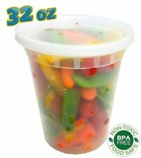 32 oz. (Quart Size) Plastic Freezer Food Storage Deli Soup Container Tubs w/Lids