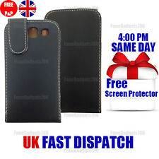 BLACK LEATHER FLIP CASE COVER & FREE SCREEN PROTECTOR FITS Galaxy S3 i9300