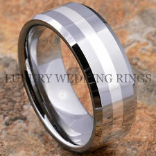 8mm Men's Tungsten Ring Silver Inlay Wedding Band Titanium Color Size 6-13