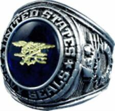 UNITED STATES NAVY SEAL SIGNET RING BLUE AUSTRIAN CRYSTAL SILVER/RHODIUM FINISH