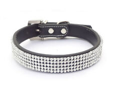 New Leather Bling Diamante Rhinestone Crystal Pet Dog Cat Puppy Collar 3 Size