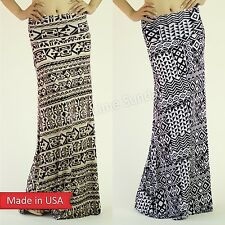 New Aztec Tribal Pattern Black White Taupe Fold Over Stretch Long Maxi Skirt USA