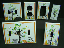 BABY JUNGLE ZOO ANIMALS  IMAGE 1  LIGHT SWITCH OR OUTLET COVER V380