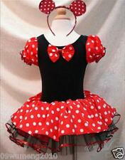 Girls Minnie Mouse Kids Gift Pary Fancy Costume Ballet Tutu Dress+Ear Polka 2-8Y