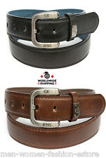 New Mens Casual Dress Leather Belt Black Brown Plain Solid Non-Removable Buckle