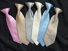 TIES ON ELASTIC- FOR BOYS/CHILDREN - CHOICE OF COLOURED STRIPES
