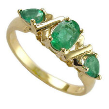 Colombia Emerald Three-Stone Mother's Ring in 10k Gold Ring, Sizes 4 to 9.5 R164