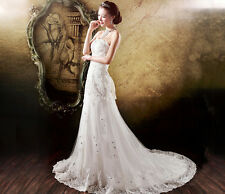 White Lace Long Tail Wedding Dress Bridal Gown All Size Customed Made Elegant