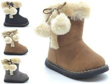 GIRLS INFANT FUR LINED ZIPPER GRIP SOLE CHILDREN BOBBLE  POM POM BOOTS SIZE 3-8