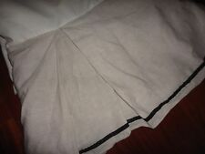 """CROSCILL  COTTON/RAYON/LINEN (COLOR) STRIPE BLACK TWIN OR FULL BEDSKIRT 14"""""""