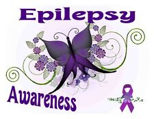 Custom Made T Shirt Epilepsy Awareness Special Needs Ribbon Butterfly Flowers