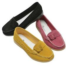 LADIES LEATHER SHOES WOMENS SMART FORMAL WALKING DRIVING LOAFERS MOCCASINS SIZE