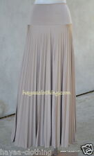 Hayaa ~ Pleated Foldable Waistband Maxi Skirts - MOCHA ~ S M L XL 2XL 3XL 4XL