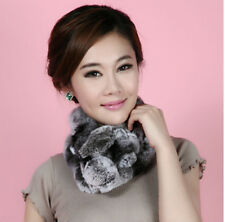 Women Real Rex Rabbit Fur neck warmer scarf muffler scarves wrap Purple and Gray