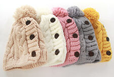 New Women's Winter Knit Wool Warm Ski Cap Cute Three Buttons Hats 5colors