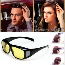 New Fit Over Unisex HD Night Vision Driving Wrap Around Sunglasses Yellow Lens