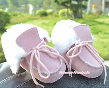 Newborn Toddler Baby Girl Light Pink Shoelace White Faux Fur Boots Shoes 6-24M