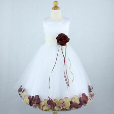 WHITE IVORY BURGUNDY Flower Girl Dress Petals Wedding Formal Recital Birthday
