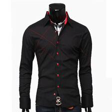 HOT Men's Luxury Casual Shirts Slim Fit Patched Stylish Long Sleeve Dress Shirts